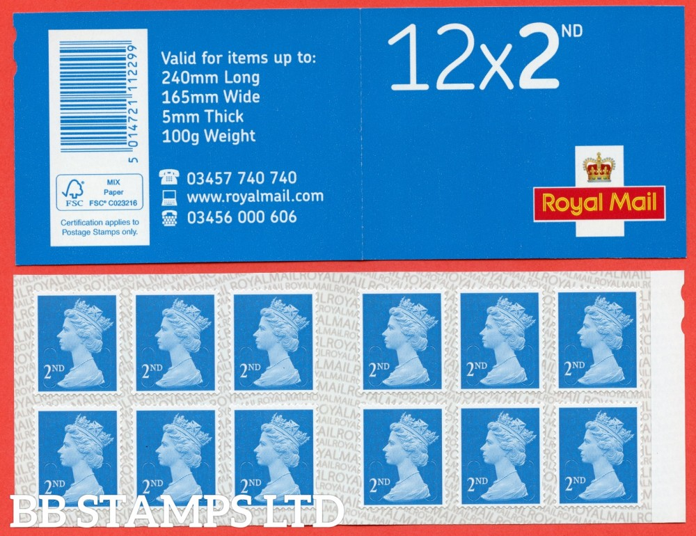 12 x 2nd Class 'M18L' MTIL (U3013), printed backing paper ALL Lines Upright. (Picture for general reference only; our choice of Ls or sL supplied where both exist.) (1 Booklet only)