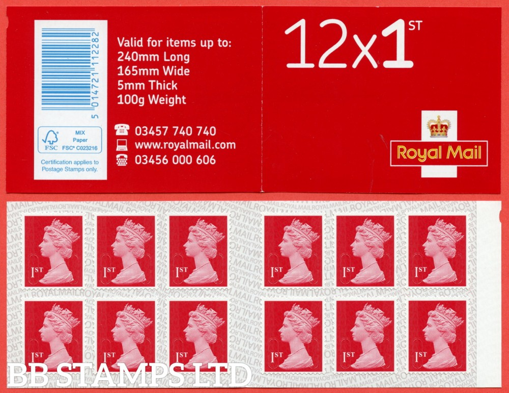 12 x 1st Class Bright Scarlet ' M19L' MTIL, printed backing paper with pairs of lines inverted. (Picture for general reference only; our choice of Ls or sL supplied where both exist.) Our Stock Ls (1 booklet only)