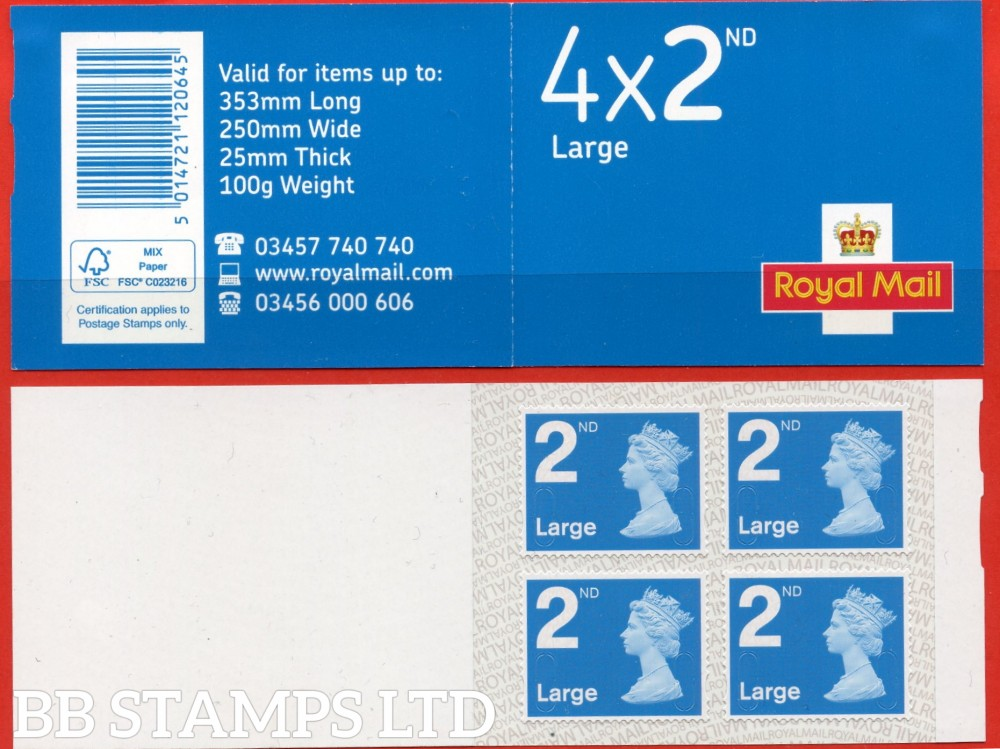 "4 x 2nd Pip Large (U3032) "" M19L "" MFIL New Font & Colour, printed backing paper with pairs of lines inverted. (Picture for general reference only; our choice of Ls or sL supplied where both exist.) (1 booklet only)"