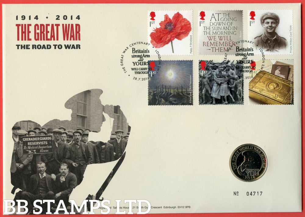 RMC137 2014 Centenary of The First World War. Issued 28.07.2014. Contains SG3626/3631 and £2 coin.  (Number on cover may vary)