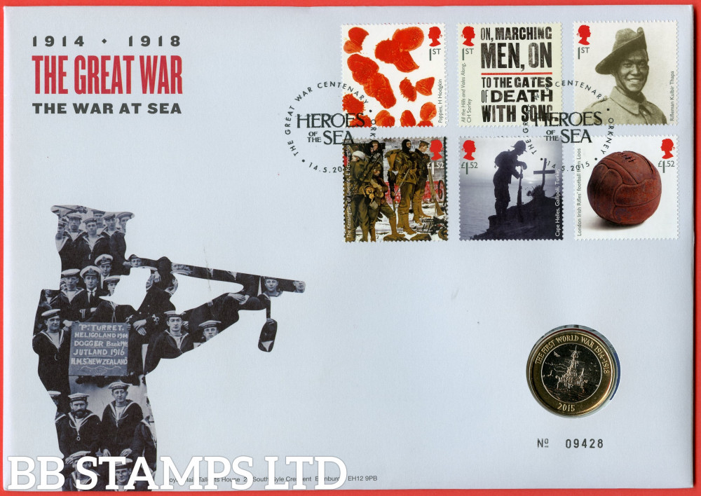 RMC143 2015 Centenary Of The First World War (2nd Issue). Issued 14.05.2015. Contains SG3711/3716 and £2 coin.  (Number on cover may vary)