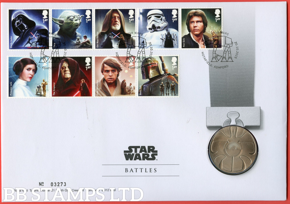 RMC148 2015 Star Wars. Battles. Issued 20.10.15. Contains SG3758/3762,3764/3767 and Medal.  (Number on cover may vary)