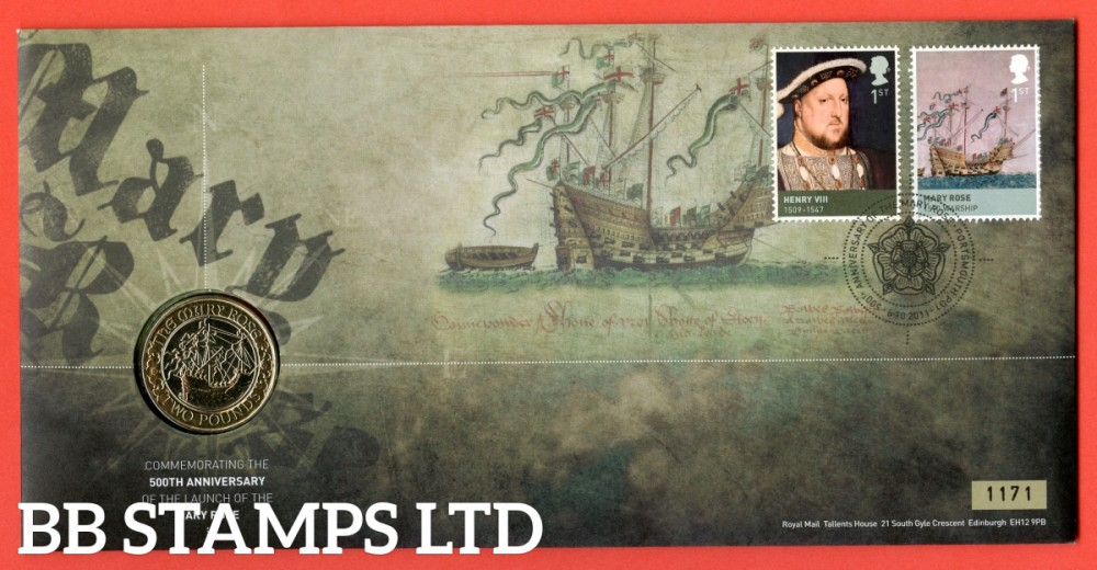 2011 500th Anniversary of Mary Rose Launch £2 Coin Cover. SG. 2925 and Mary Rose stamp from MS2930