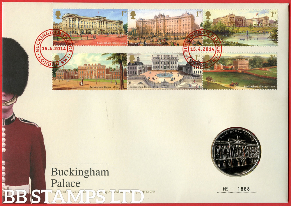 RMC135 2014 Buckingham Palace. Issued 15.04.14. Contains SG3589/3594 and Medal.  (Number on cover may vary)