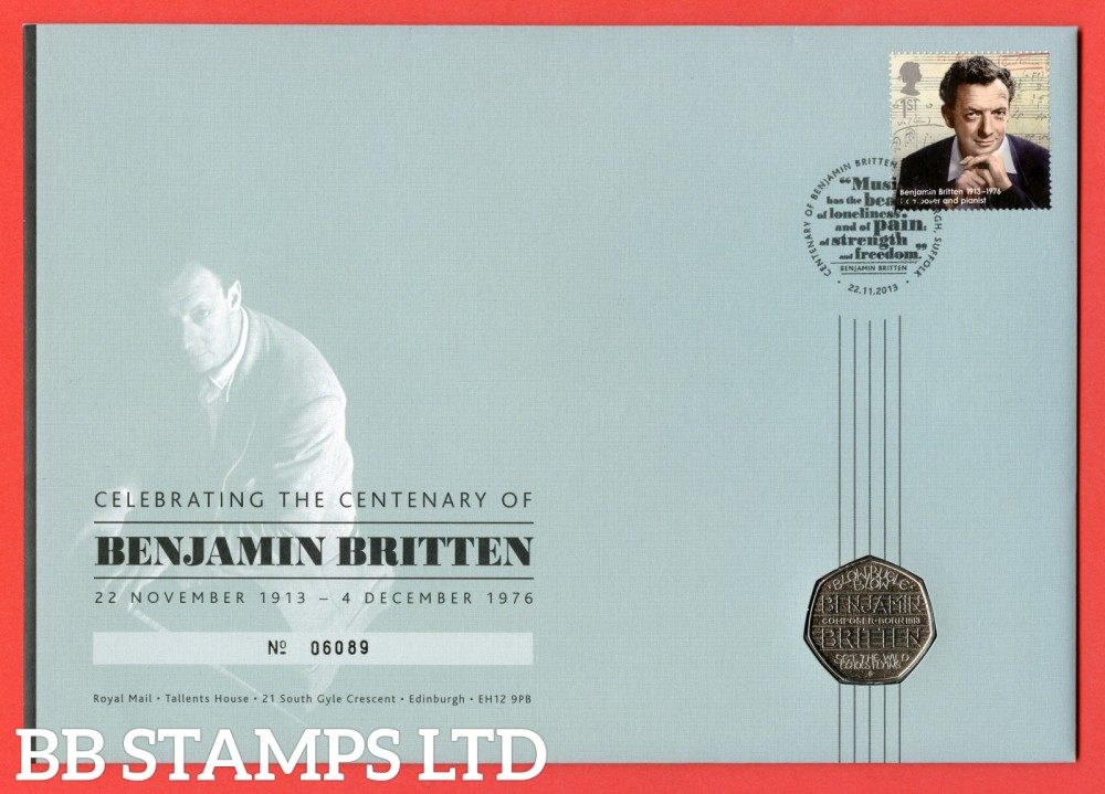 2013 Centenary of Benjamin Britten 50p Coin Cover. SG. 3459