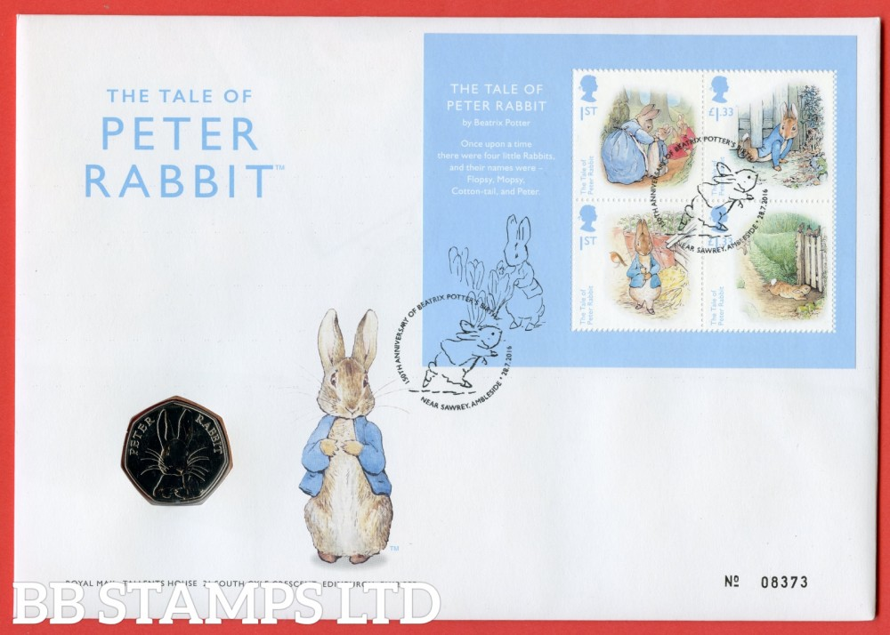 2016 The Tale of Peter Rabbit 50p Coin Cover. SG. MS3868