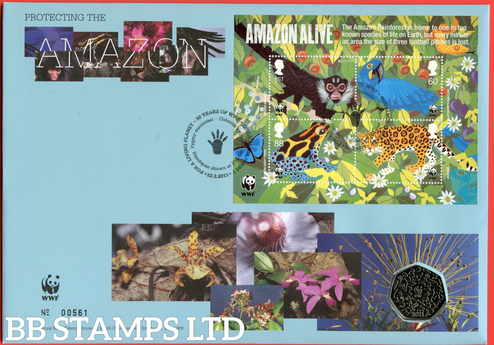 RMC93 2011 WWF 50th Anniversary. Issued 22.03.11. Contains SG MS3172 and 50p coin.  (Number on cover may vary)
