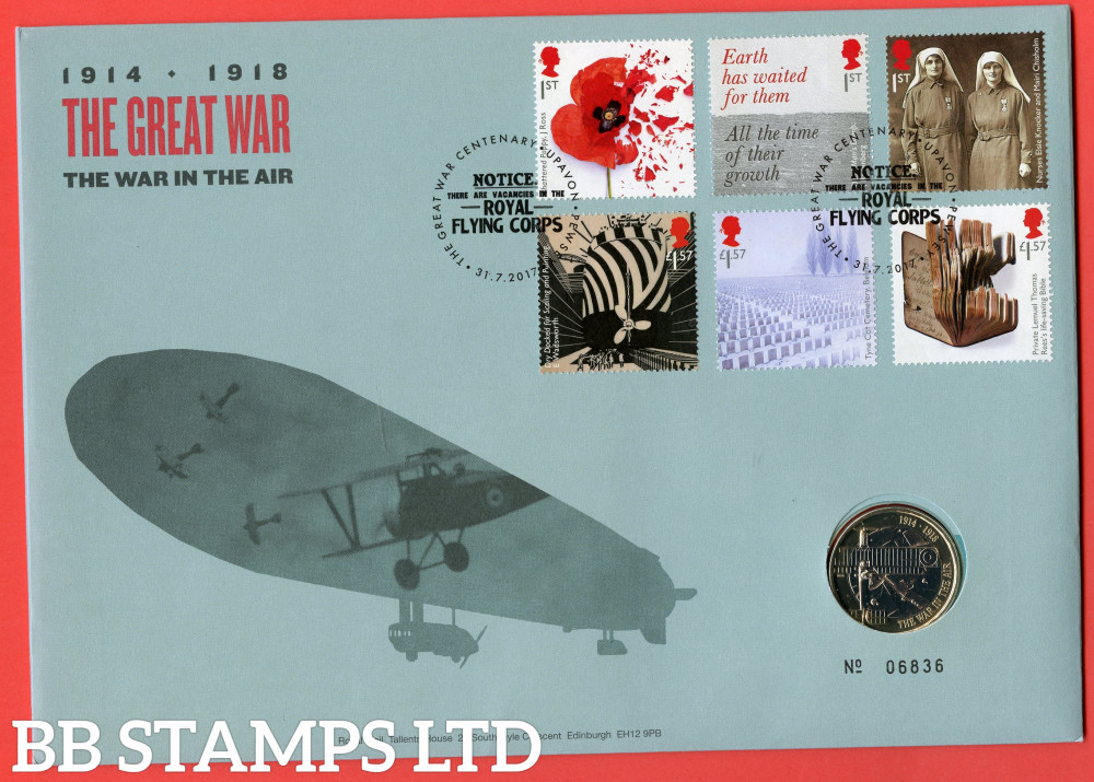RMC161 2017 Centenary of The First World War (4th Issue). Issued 31.07.17. Contains SG3983/3988 and coin.  (Number on cover may vary)