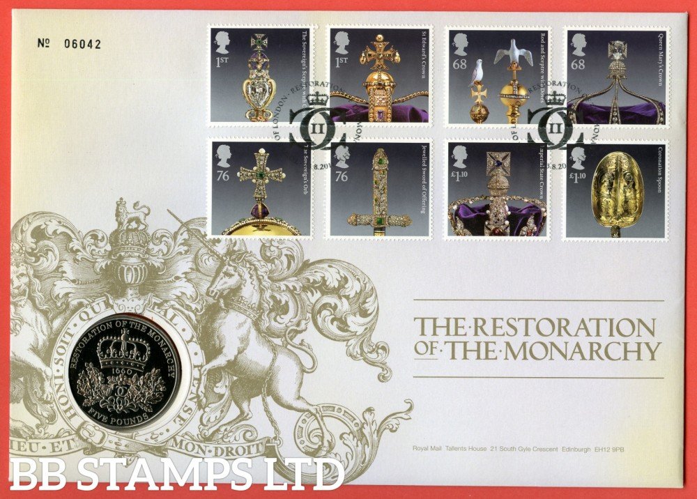 2011 The Restoration of The Monarchy £5 Coin Cover. SG. 3207 - 3214
