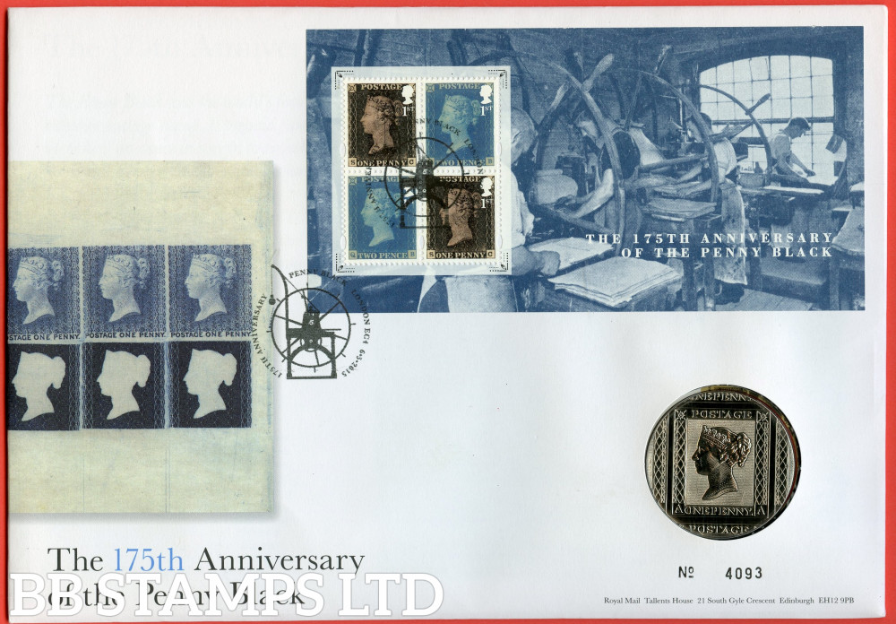 RMC142 2015 175th Anniversary of The Penny Black. Issued 06.05.2015. Contains SGMS142 and Medal.  (Number on cover may vary)