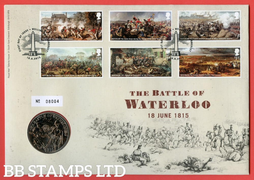 2015 Centenary of Battle of Waterloo £5 Coin Cover. SG. 3724 - 3729