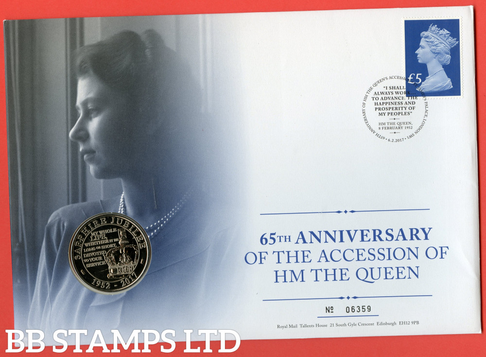 RMC157 2017 65th Anniversary of the Accession of Queen Elizabeth II. Issued 06.02.17. Contains SGU3920 and £5 coin.  (Number on cover may vary)