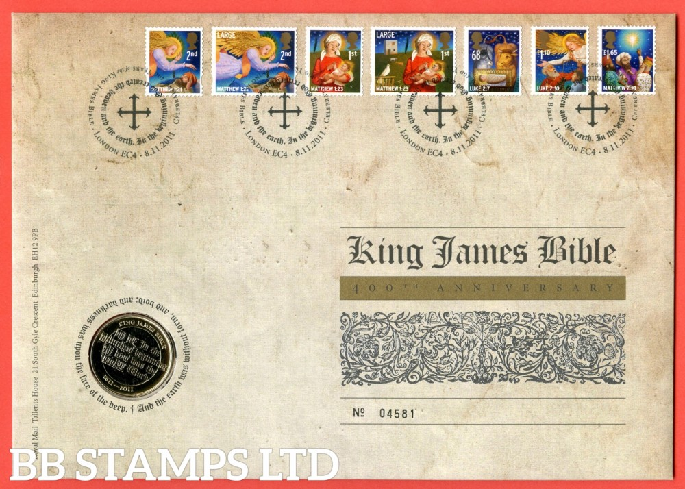 2011 400th Anniversary King James Bible £2 Coin Cover. SG. 3237 - 3243