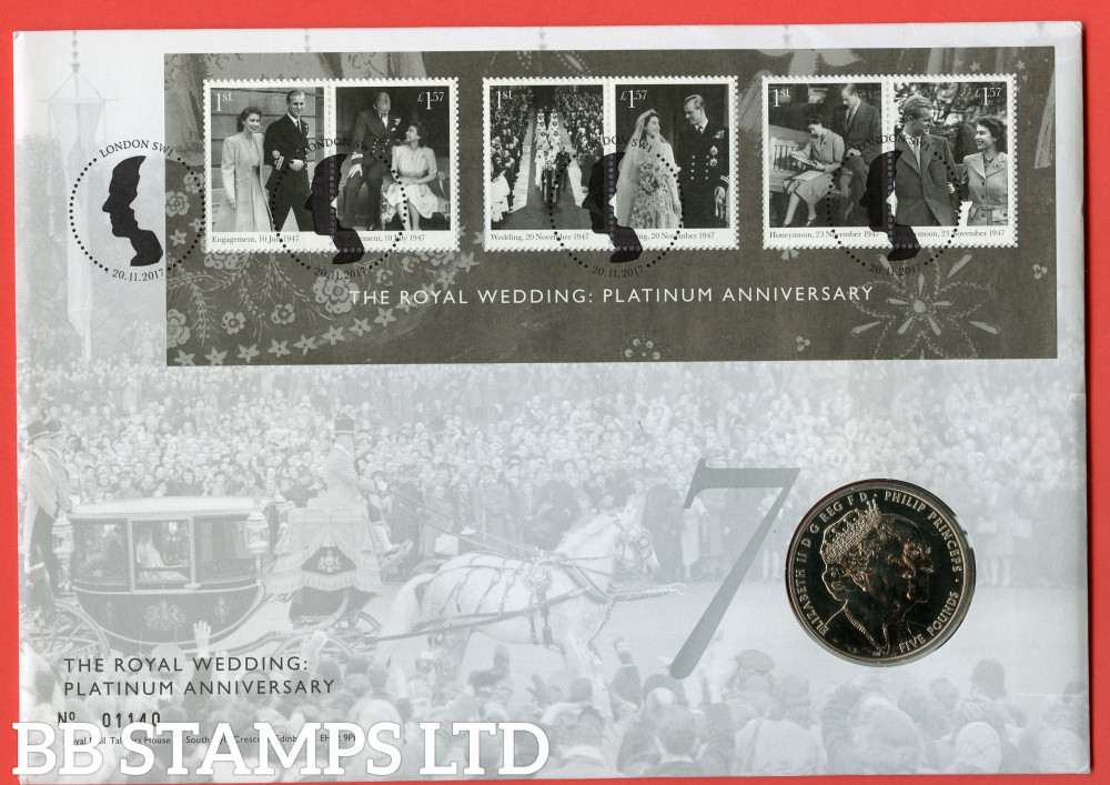 RMC164 2017 Royal Platinum Wedding Anniversary. Issued 20.11.17. Contains SGMS4031 and coin.  (Number on cover may vary)