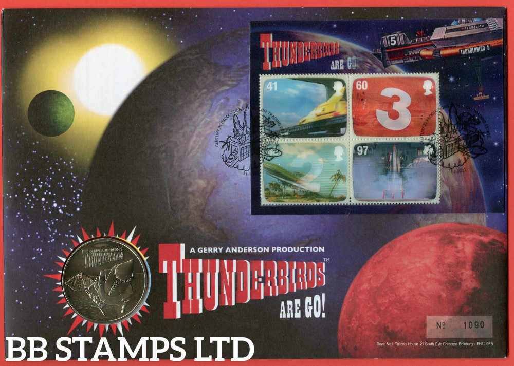 RMC89 2011 F.A.B The Genius of Gerry Anderson (Thunderbirds). Issued 11.01.11. Contains SG MS3142 and medal.  (Number on cover may vary)