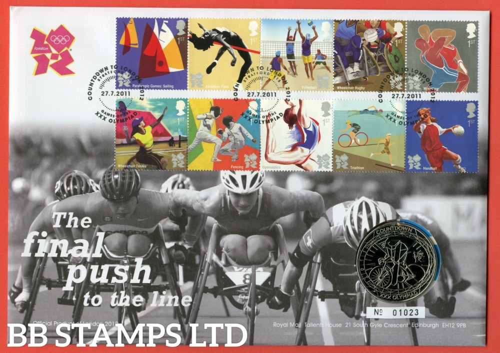 2011 RMC100 The Final Push to the line London 2012 £5 Coin Cover. SG. 3195/3204