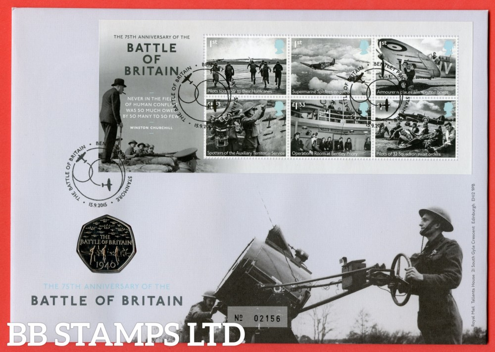 2015 75th Anniversary of Battle of Britian £5 Coin Cover. SG. MS3735