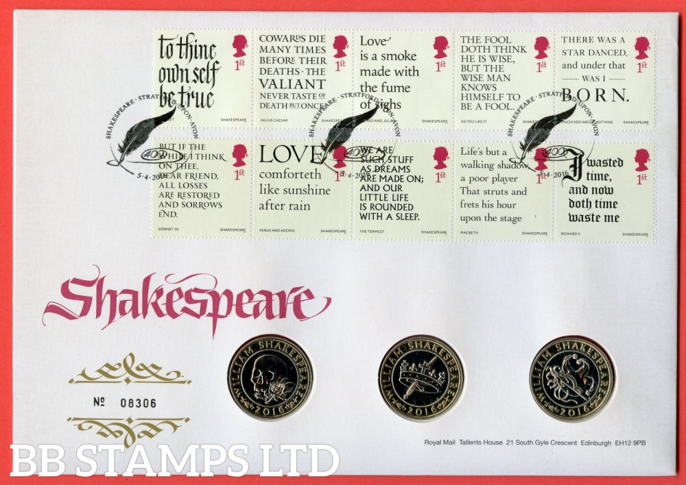 2016 400th Death Anniversary of Shakespeare 3 x £2 Coin Cover. SG 3816 - 3825