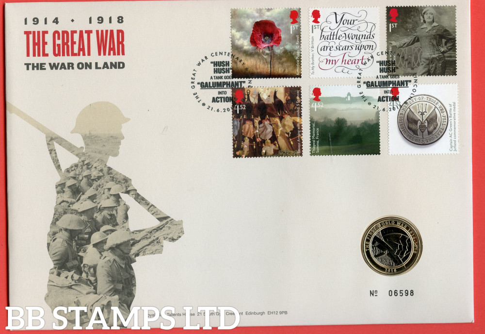 RMC153 2016 Centenary of The First World War (3rd Issue). Issued 21.06.2016. Contains SG3838/3843 and £2 coin.  (Number on cover may vary)