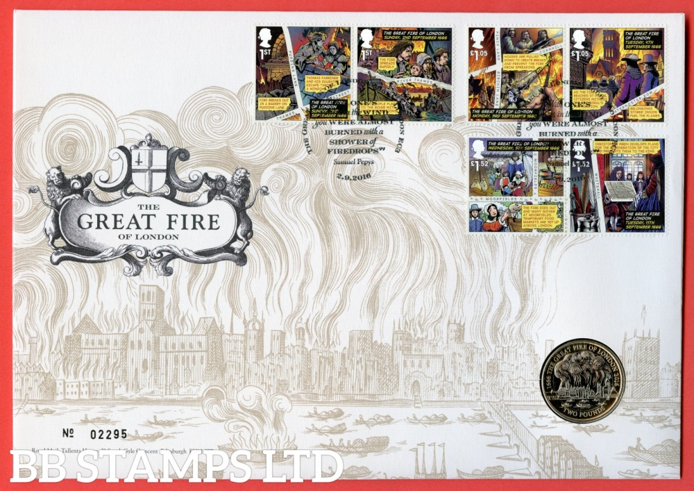 2016 The Great Fire of London £2 Coin Cover. SG. 3879 - 3884