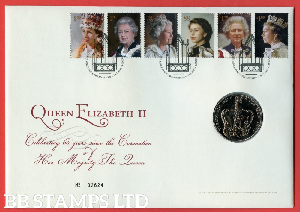 2013 6 Decades of Royal Portriats £5 Coin Cover. SG. 3491 - 3496