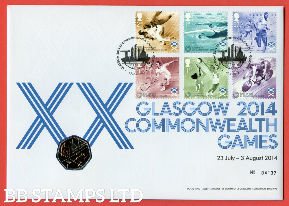 2014 Glasgow Commonweath Games 50p Coin Cover. SG. 3619 - 3624