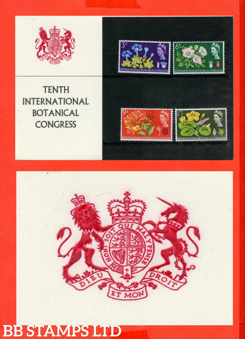 1964 Botanical Congress (Pres Pack is Type A = Unicorns Collar is Decorated With fleur-de-lys)