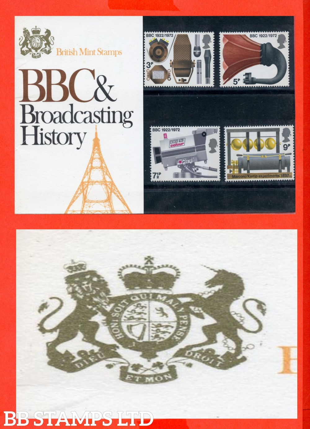 1972 B.B.C.Broadcasting Anniversaries Pres Pack. ( Pack is Type B = White Letters on Solid background).