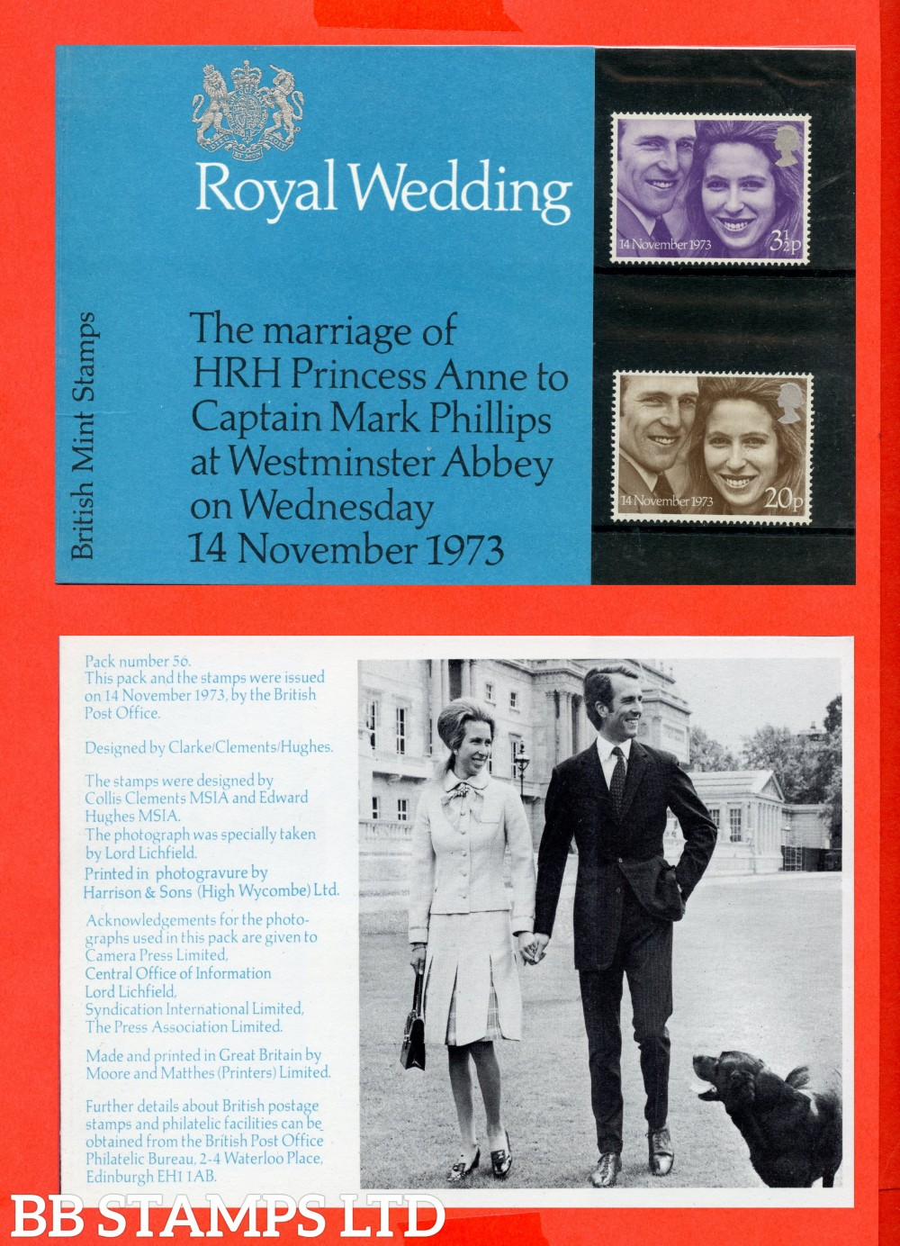 1973 Royal Wedding (Pres Pack is Type C = Flower Between Unicorns Legs. Dog Cut Off Edge of Picture)