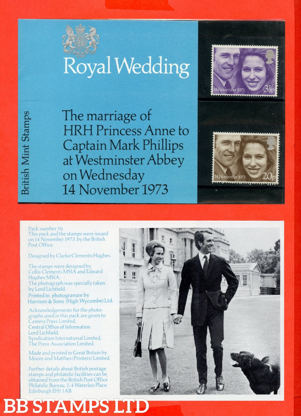 1973 Royal Wedding (Pres Pack is Type A = No Flower Between Unicorns Legs. Dog Cut Off Edge of Picture)