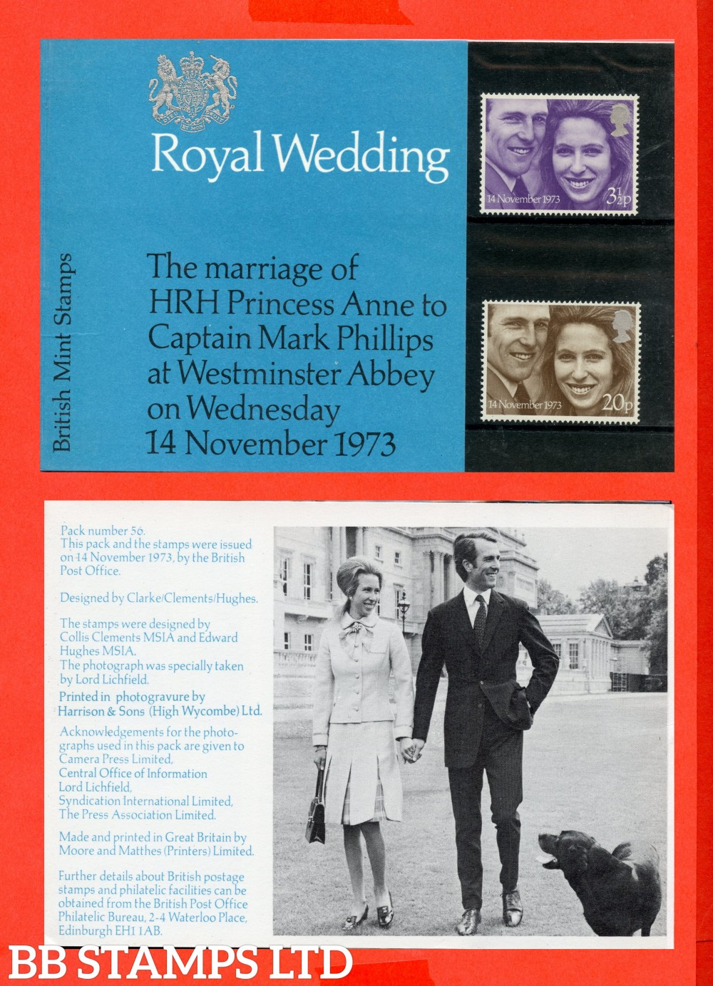 1973 Royal Wedding (Pres Pack is Type D = Flower Between Unicorns Legs. Whole Dog in Piture Picture)