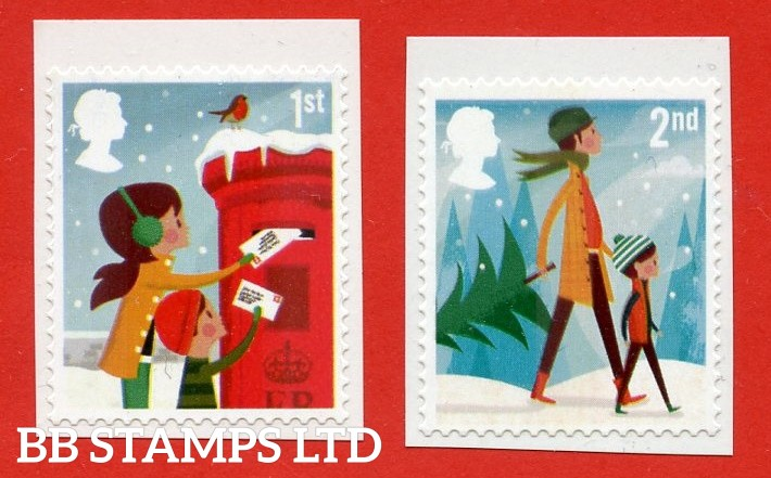 Christmas 2 x S/A 1st and 2nd class from Booklet LX47 and LX48 ( Album reference-Royal Mail Deluxe 2014 Continuation Pages)