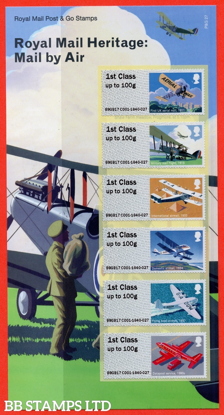 2017 Post and Go: Royal Mail Heritage Mail By Air. 6 x 1st Class Different Designs