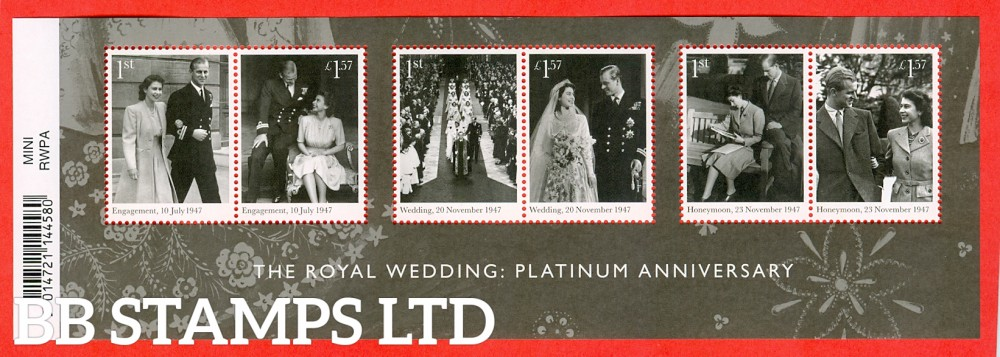 2017 The Royal Wedding Platinum Anniversary Minisheet (available from 20/11/17)