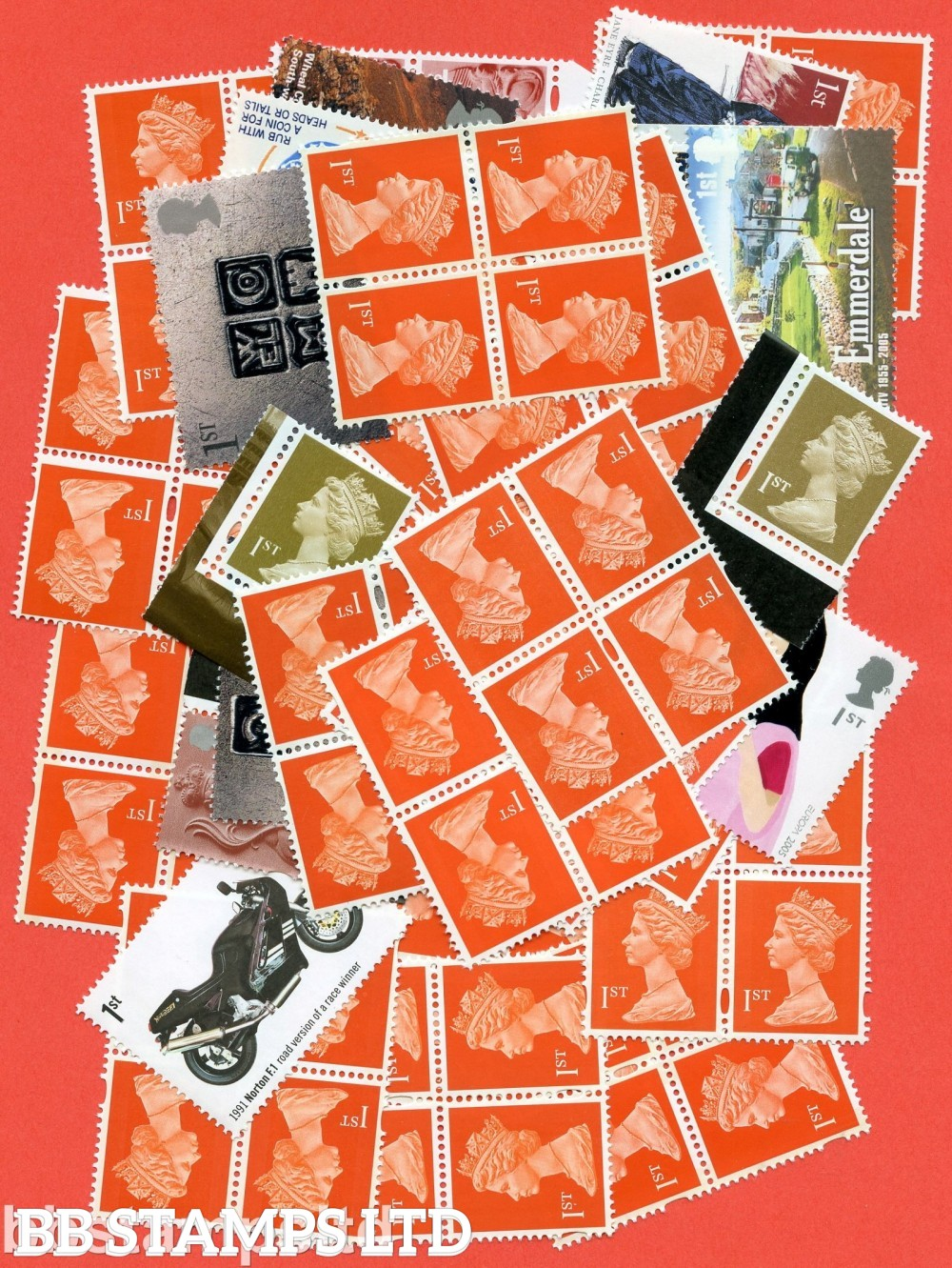 500 1st Class (70p) stamps. £350.00 of face value Postage at 80.75%. All of our postage lots are genuine mint stamps with gum and have never been used as postage.