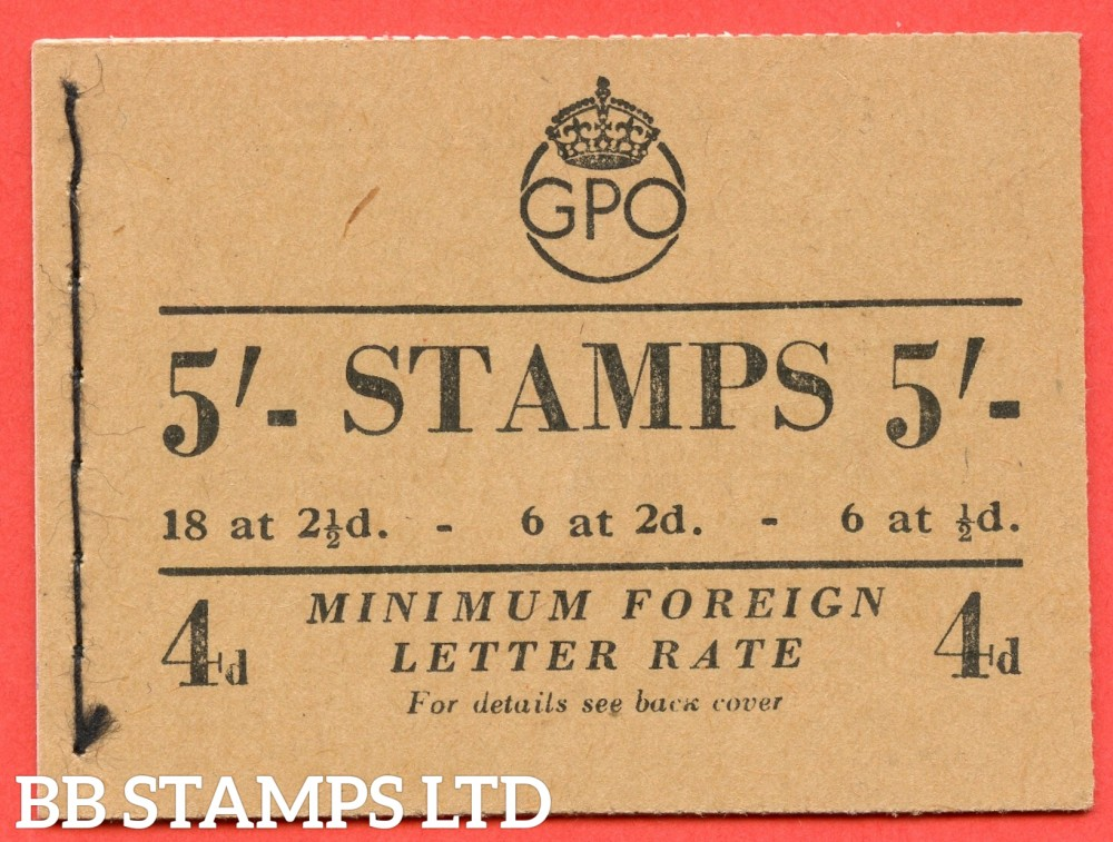 """SG. BD30 ( 1 ). """" 5/- """". May 1951. George VI. A very fine example of this George VI booklet."""