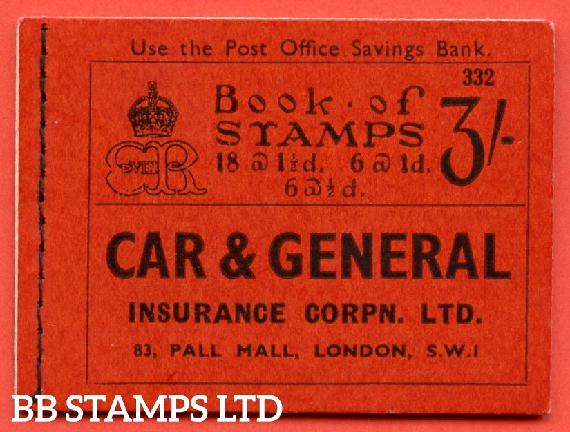 SG. BC3. 3/-. Edition Number 332. Edward VIII. A very fine example of this Edward VIII booklet.