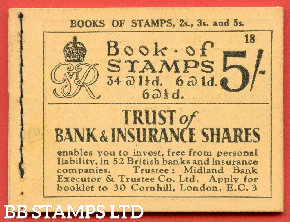 """SG. BD23. """" 5s """". Edition number 18. A very fine complete example of this very scarce George VI dark colours booklet."""
