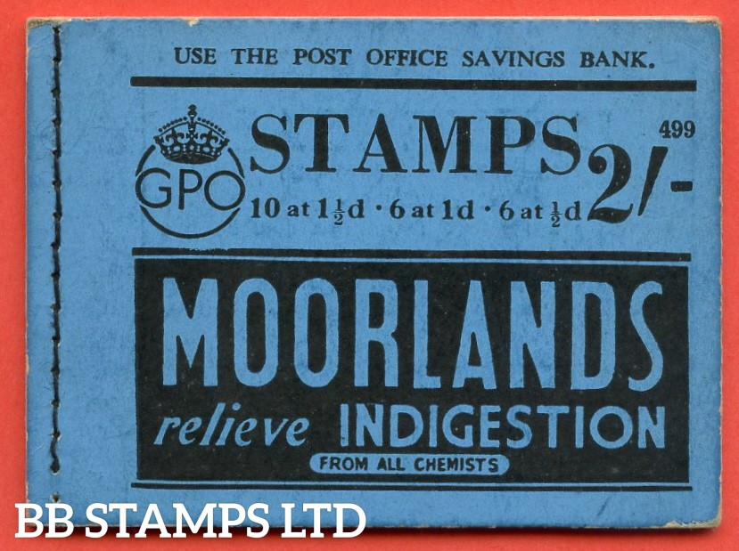 """SG. BD12. """" 2s """". Edition number 499. A very fine complete example of this very scarce George VI dark colours booklet."""