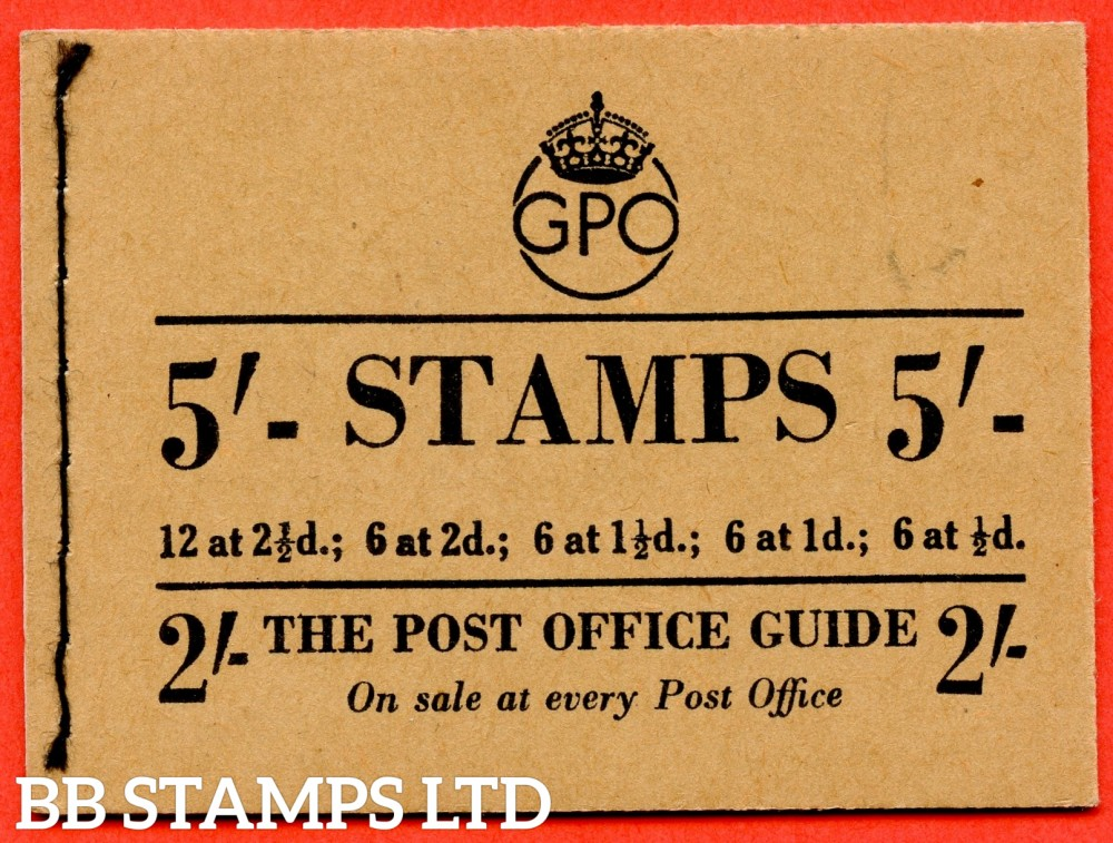 "SG. BD32 ( 2 ). "" 5/- "". March 1953. George VI. A very fine example of this George VI booklet."