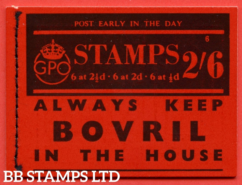 """SG. BD13. """" 2s 6d """". Edition number 6. A very fine complete example of this very scarce George VI booklet."""