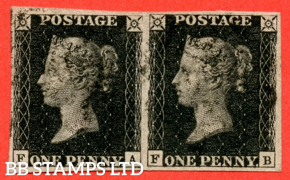 """SG. A1 (1). AS24. """" FA FB """". 1d intense black. Plate 5. State 1. A fine used horizontal pair cancelled by a black maltese crosses. ' FB ' with the """" Scratch in right margin """" variety."""