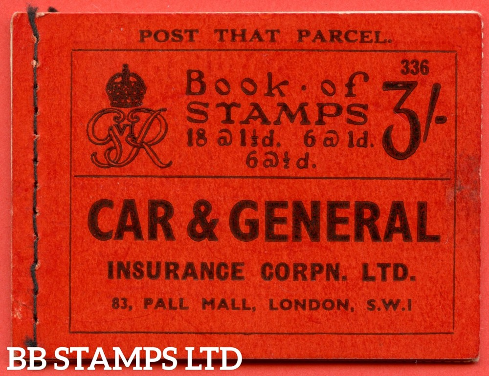 """SG. BD22. """" 3s """". Edition number 336. A very fine complete example of this very scarce George VI dark colours booklet."""