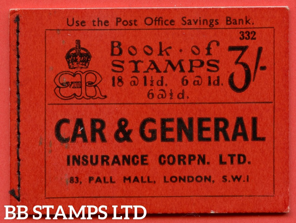 """SG. BC3. """" 3/ """"-. Edition Number 332. Edward VIII. A very fine example of this Edward VIII booklet."""