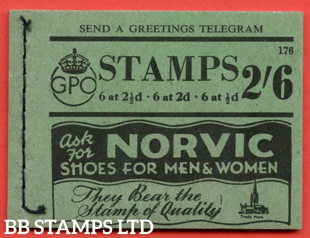 SG. BD17. 2/6. Edition number 176. A very fine example of this scarce George VI booklet.