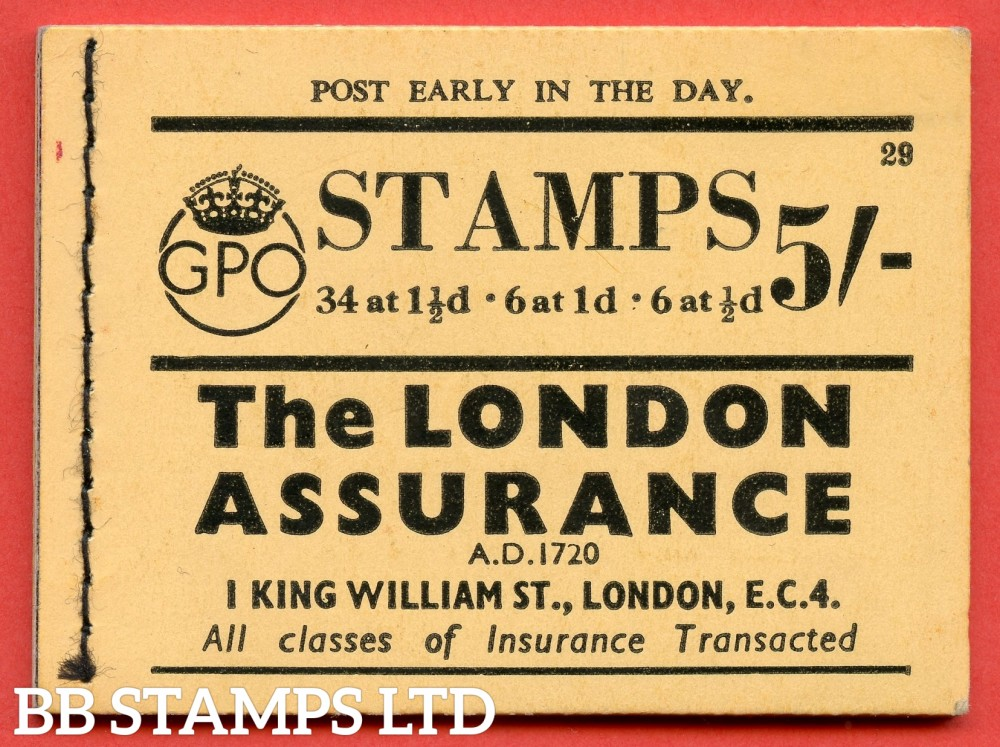 """SG. BD24. """" 5s """". Edition number 29. A very fine complete example of this very scarce George VI dark colours booklet."""