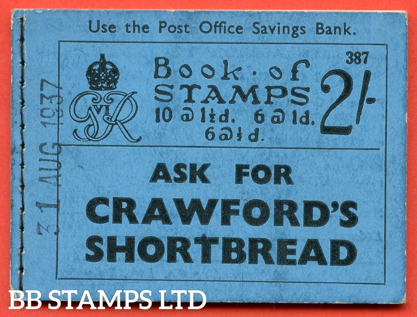 SG. BD11 ( AVC ). 2/-. Edition Number 387. A very fine example of this Scarce George VI dark colours voucher booklet. All panes overprinted CANCELLED and punched type 33p.