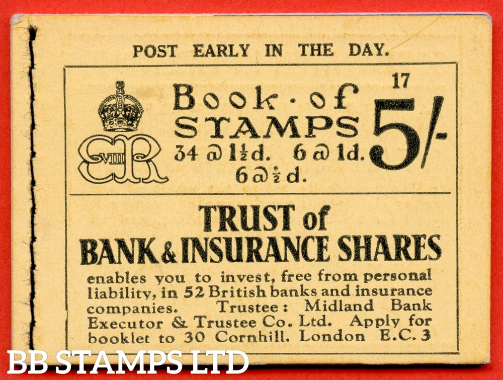 "SG. BC4. "" 5/- "". Edition Number 17. Edward VIII. A very fine example of this Edward VIII booklet containing the PB5 ( 7 ) "" Drages 50 pay way / Free book. Drages "" pane."