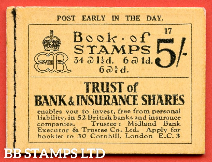 """SG. BC4. """" 5/- """". Edition Number 17. Edward VIII. A very fine example of this Edward VIII booklet containing the PB5 ( 7 ) """" Drages 50 pay way / Free book. Drages """" pane."""