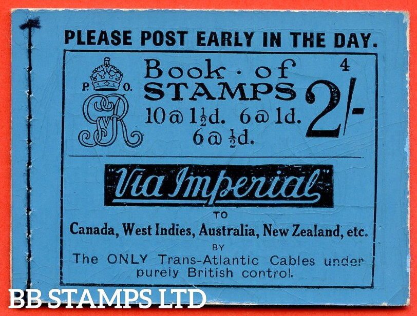 "SG. BB12. "" 2s "". Edition number 4. A very fine complete example of this very scarce George V booklet."